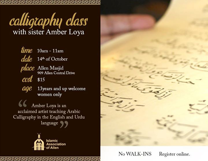 Calligraphy Class Monthly Class November Islamic